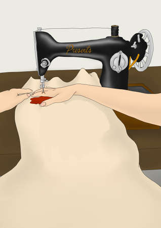 Sewing machine accident