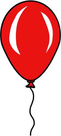 Red Balloon Isolated Illustration