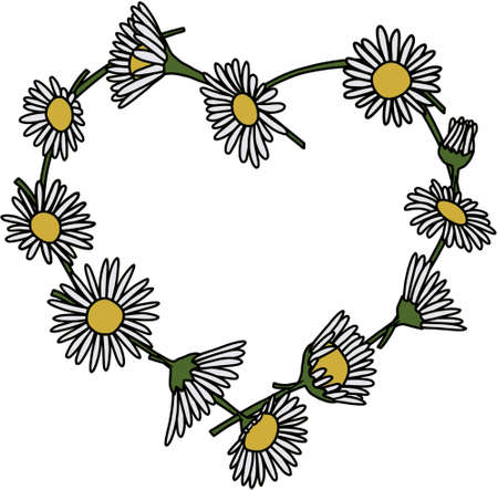 Heart shaped daisy chain 向量圖像