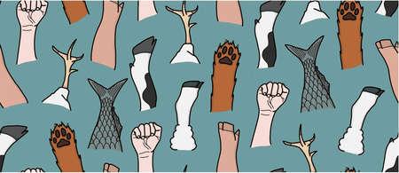 Unite Animal Equality Fists 向量圖像