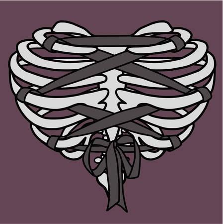 Heart Shaped Rib Cage Corset Illustration