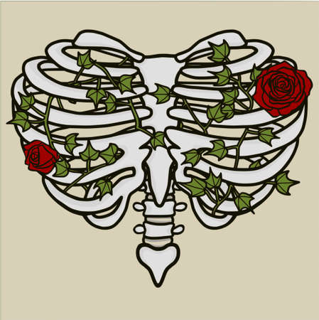 Heart Shaped Rib Cage Roses and Ivy