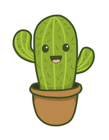 Cute Happy Smiling Cactus Stok Fotoğraf