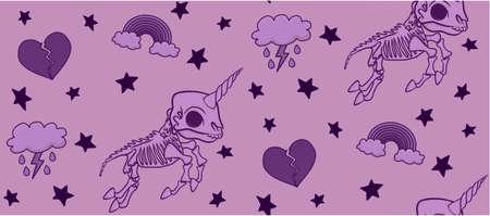 Pink Skeleton Unicorn Pattern Stock fotó - 115411805