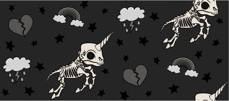 Skeleton Unicorn Pattern