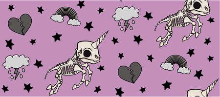 Pink Skeleton Unicorn Pattern