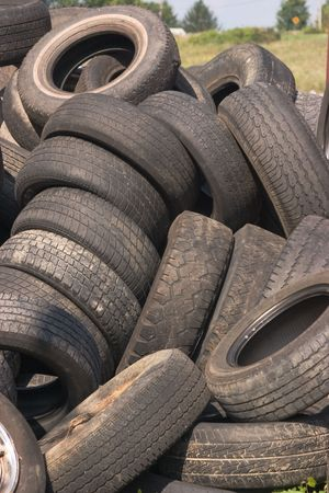 Pile of old discarded tires