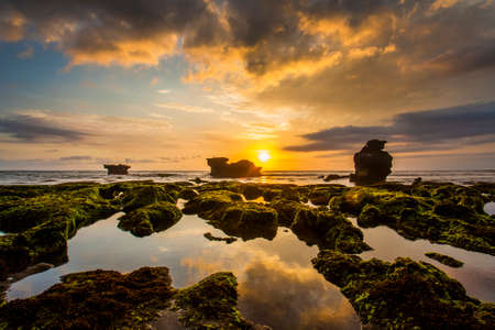 Evening view in Mengening  Beach Bali, Indonesia photo