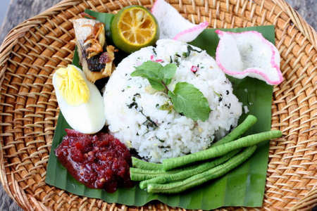 Nasi Ulam - Malay traditional cuisine, rice with herbs