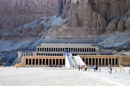 thebes: The temple of Queen Hatshepsut, the female Pharaoh, on the west bank of the Nile at Luxor, Thebes