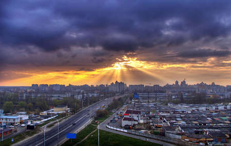 Sunrise in the city. Ukraine Kiev