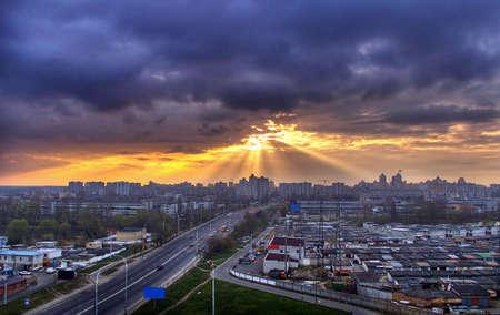 bilding: Sunrise in the city. Ukraine Kiev