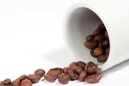 liveliness: Coffee background: Close-up of a beans, cup