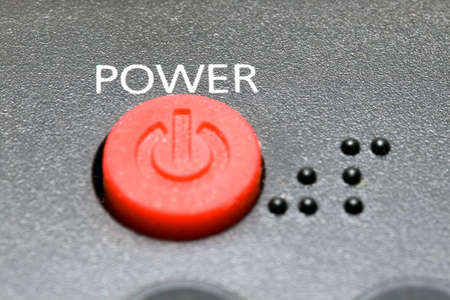 buttom: black Remote controler. Buttom of power Stock Photo