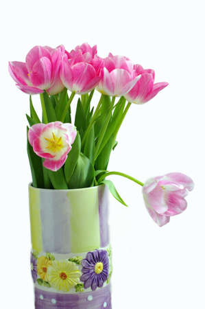 Lots of pink tulips in vase Stock Photo - 4353734