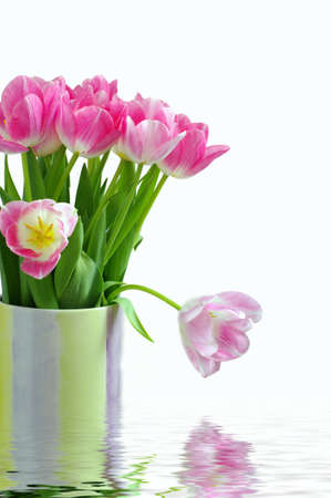 Lots of pink tulips in vase Stock Photo - 4561468