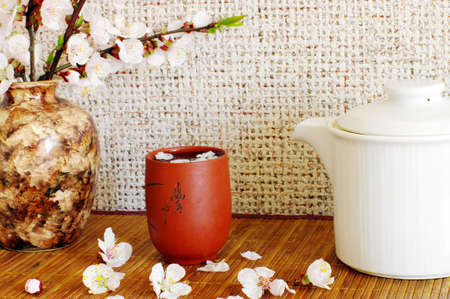 tea with apricot flowers and white teapot photo