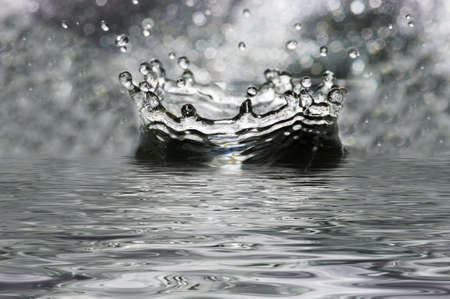 mercury: Fantastical water splashes. Drops, waves. Stock Photo