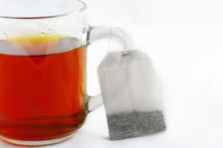 Hot tea with a bag of tea