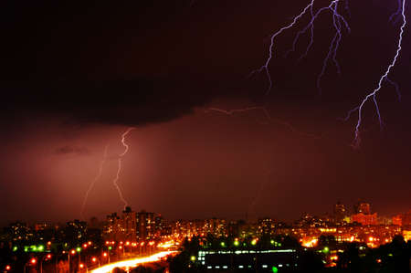 Thunderstorm with lightning in the city