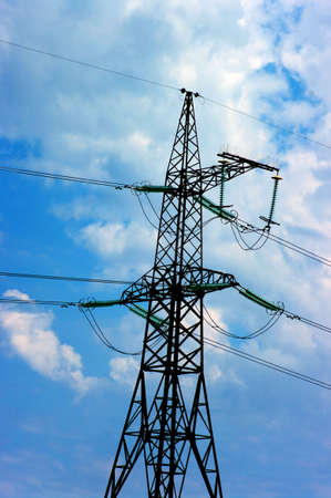 electric power lines on the blue sky Stock Photo - 5243325