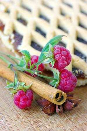 cake with raspberry and cinnamon, anice photo