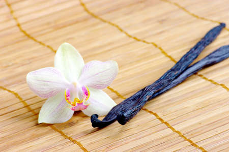 Orchid with vanilla beans on the mat photo