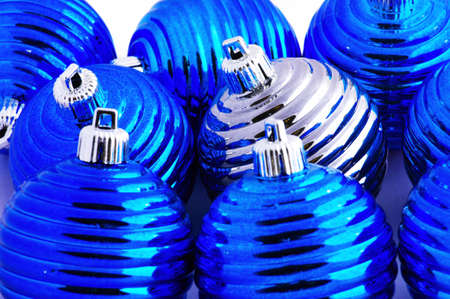 bedeck: blue christmas balls and one silver christmas ball