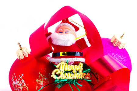 dangling: Santa with red and magenta christmas balls