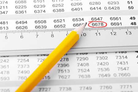스프레드 시트: Pencil on a chart with ruler.