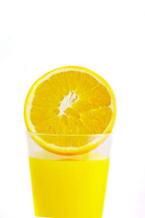 Glass with juice and orange ripe. Citrus isolated on a white background.  photo