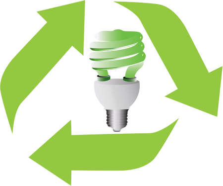 Energy saving light bulb in recycling symbol
