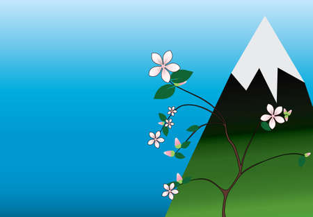 Flowers of sakura at the spring with mount. Spring landscape Vector