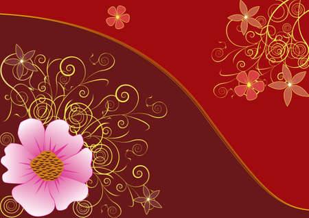 Floral elegant background. Golden flower background Vector