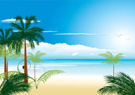 Beautiful tropical beach with sea-bird and cocnut-palm Illustration