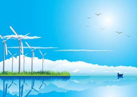 electrics:  Wind farm in grass over blue sky with birds