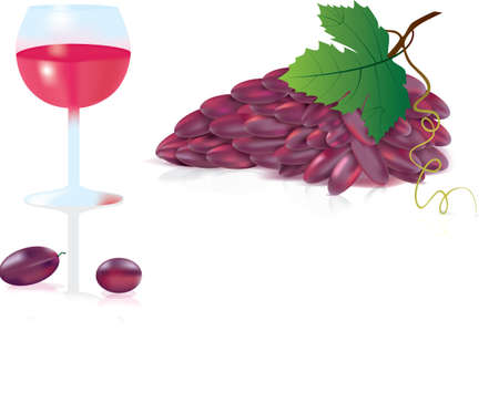 fruitful: grapes with a glass  Illustration