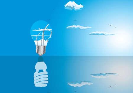 Ecologie concept van lampen met reflectie