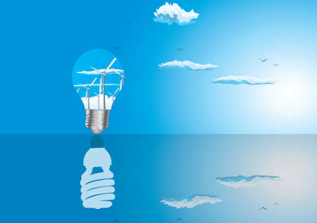 photosynthesis: Light bulbs ecology concept with reflection Illustration