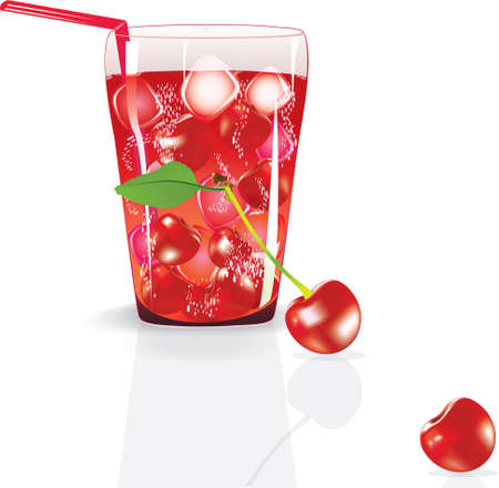 refreshed: illustration of fresh cherry juice with cherry.