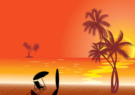 Sunset at Beach Shore and surf. Vector