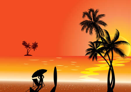 Colorful tropical illustration with surfers. Vector