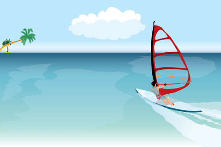 windsurfer in to tropical sea Vector