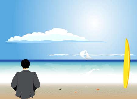 businessman rest on the beach Vector