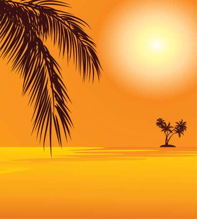 赤い夕日とビーチでヤシ  イラスト・ベクター素材
