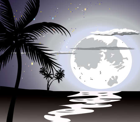 Ocean in the night, full moon and stars.  Vector