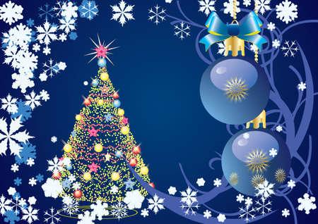 青色の背景ベクトル クリスマスを抽象化します。  イラスト・ベクター素材
