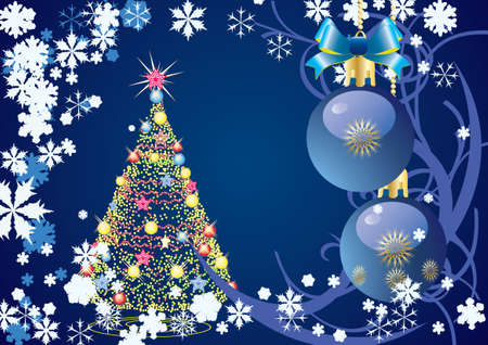 Abstract Christmas a blue background vector  Stock Vector - 7290603
