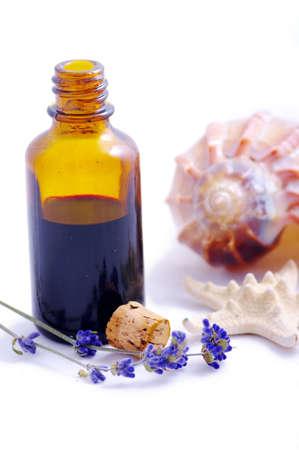 Herbal Medicine mit Kräutern und Meerestiere. Isolated white Background.
