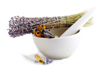 trituration: Healing herbs in white ceramic mortar and pestle  Stock Photo